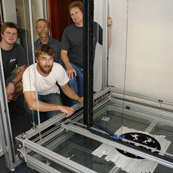 OUTSIZED … Role players on what is arguably the largest 3D printer in Africa include (from left) eNtsa's Andrew Young, Mechanical Engineering intern Jan Hendrik de Jongh, Mechanical Engineering's Prof Russell Phillips and soon-to-be PhD graduate Sean Poole. Absent: designer master's student Timothy Momsen.
